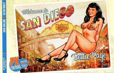 Bettie Page #1 comic 2017 SDCC exclusive cover Joe Linsner San Diego postcard PX