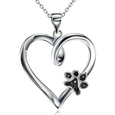 Sterling Silver Paw Print Love Heart Pendant Necklace Dog Memorial Gifts for Dog