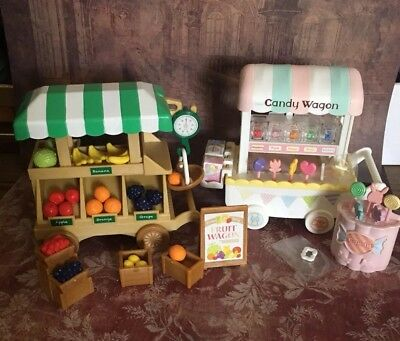 Calico Critters Fruit Wagon AND Candy Wagon 2 in 1 Complete Sets!