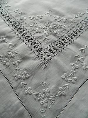 Vintage drawnthread & hand embroidered white Irish linen tablecloth. dated 1910