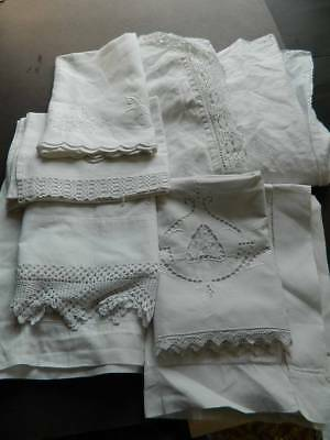Eight (8) vintage white pillowcases Irish linen Oxford, cotton lace trim