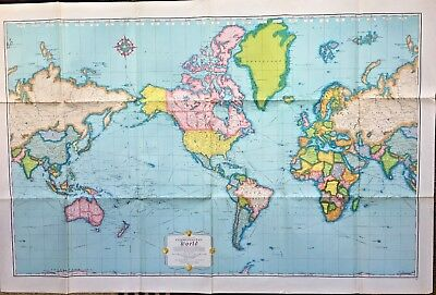 Vintage rand mcnally cosmopolitan world 52 x 34 wall poster map vintage rand mcnally cosmopolitan world map 515 x gumiabroncs Gallery