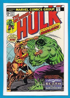 "Incredible Hulk #177_July 1974_Vf_Warlock_""death Of A Superhero""_Bronze Age!"