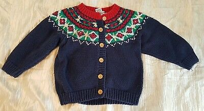 Organically Grown Kids 4T Cardigan holiday buttons thick hand knit