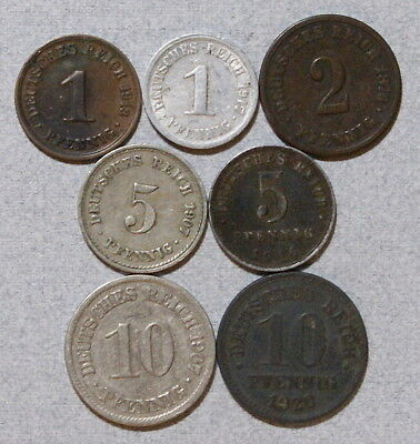 GERMANY Empire 1,2,5,10 Pfennig 1876-1920  - Lot of 7 Different Type Coins, NR!
