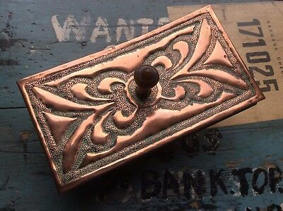 Antique Arts & Crafts Newlyn Repousse Copper Ink Paper Desk Blotter