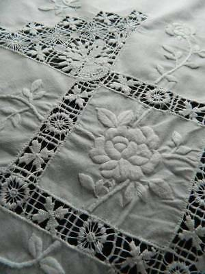 Vintage hand embroidered white Irish linen tablecloth - whitework & drawnthread