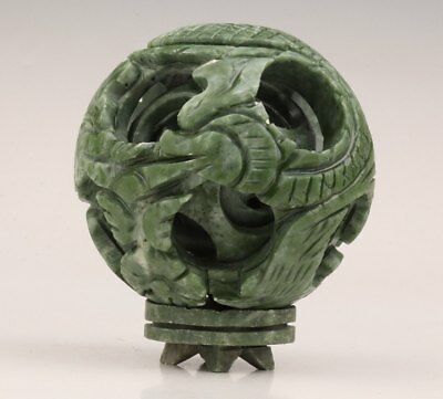 Vintage Chinese Natural Jade Ball Statue Hand-Carved Dragon Old China Decoration