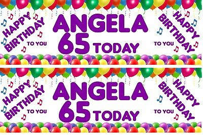 PERSONALISED HAPPY 65TH BIRTHDAY BANNER X 2 BALLOONS Ref