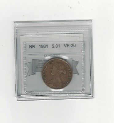 **1861**, Coin Mart Graded New Brunswick Large One Cent, **VF-20**