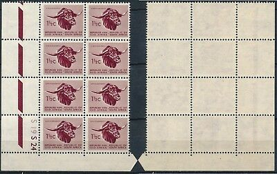 SOUTH AFRICA 1961, 1 1/2c VAL, CONTROL BLOCK x 8 STAMPS, CYLINDER S19 S24. #K212