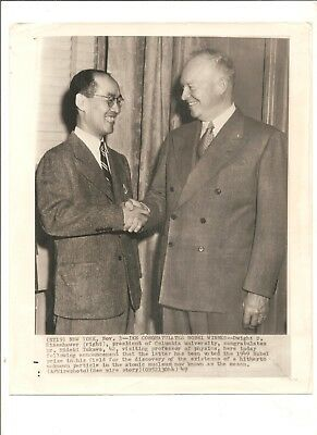 1949 AP wirephoto General Eisenhower and discoverer of meson particle