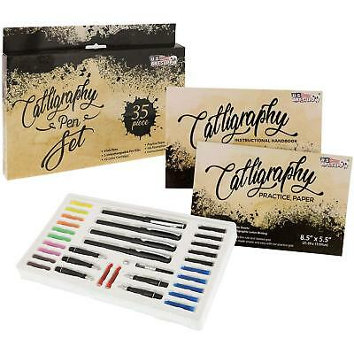 Calligraphy Pen Writing Set - Interchangable Nibs, Paper Pad, Instructions