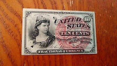 1869- 10 Cent Fractional Currency 4 th issue, Au/Unc.