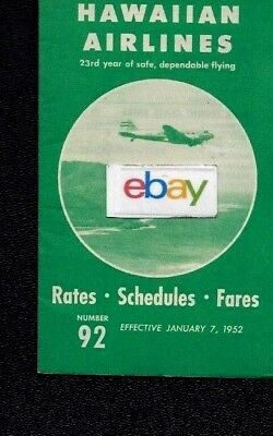 Hawaiian Airlines System Timetable 1-7-1952 Dc-3 Service 23Rd Year More Flights