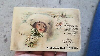 1920 Celluloid Pocket Notebook,Kinsella Hat Co,Dallas,Texas.Pics Lady in Fur Hat