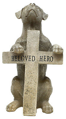 Stone Effect Graveside Memorial Pet Dog Figurine Beloved Hero + Cross Tribute