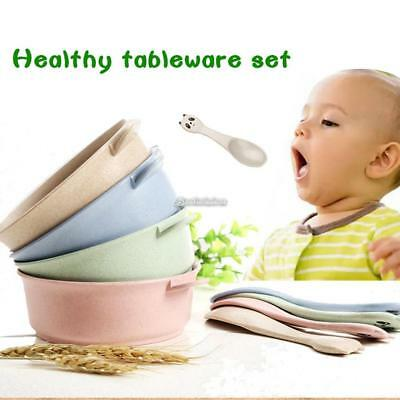 Cartoon Cute Wheat Straw Children Bowl Spoon Kids Tableware Set B98B 01
