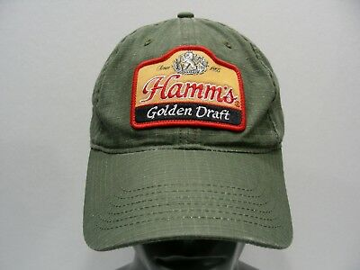 Hamm's Golden Draft - Olive Green - One Size Adjustable Ball Cap Hat!
