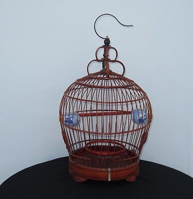 Vintage Chinese Wood Bamboo Bird Cage