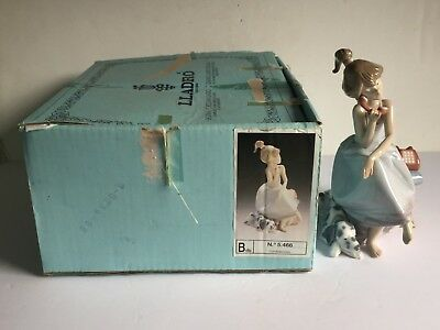 Glazed Lladro Porcelain CHIT CHAT Figurine with Original Box 5466 Girl with Dog