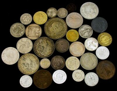 Lot of Over 30 Mixed European Coins -1880's-1960's - Including Silver Coins