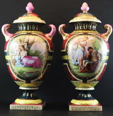 Pair C1910 Ackermann & Fritze Royal Vienna Style Porcelain Covered Urns Cupid
