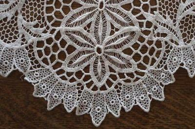 """Vintage Schiffli French Embroidered Lace Table Runner White Floral 44"""""""