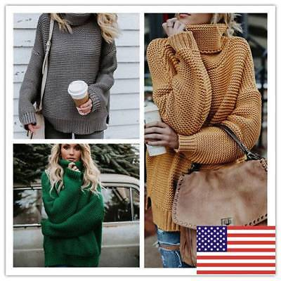 Womens Solid Loose Sweaters Turtleneck Knitted Pullovers Coat Casual Tops US HOT
