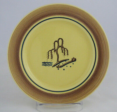 2 Franciscan Gladding McBean Willow Pattern Bread & Butter Plates, Yellow/Brown