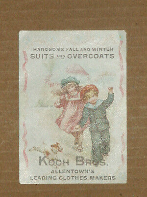 Vintage Victorian Advertising Card KOCH BROS. Clothes Makers Allentown, PA