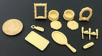 Dollhouse Miniature Overstock Lot Sale - Chrysnbon Vanity Items Unpainted 1:12