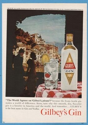 1961 Gilbeys Gin Amalfi Coast Italy Henry Ries photo mixed drink cocktails ad