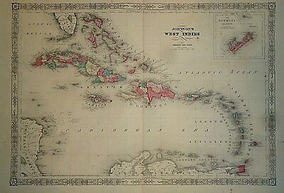 Vintage 1865 WEST INDIES - CARIBBEAN MAP Old Antique Original Atlas Map 41418