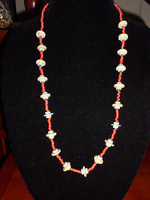 VTG Un-named Artist Made Glass Art & Faux Wood Beaded Red & Blue Necklace