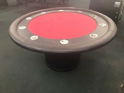 """Second 58"""" Round Professional Poker Table W/ Timber Wooden Leg [Red] + 2 Cards"""