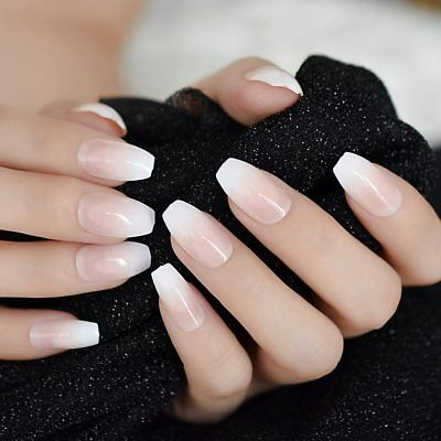 Ombre French Ballerina Fake Nail Gradeint Natural Coffin False Nails Wholesale