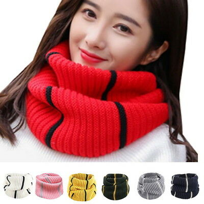 Autumn Winter Men Women's Warm Stripped Thickened Infinity Scarf Fashion