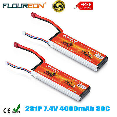 2 x 7.4V 4000mAh 2S 30C LiPo Battery Deans for RC Car Airplane Helicopter Hobby