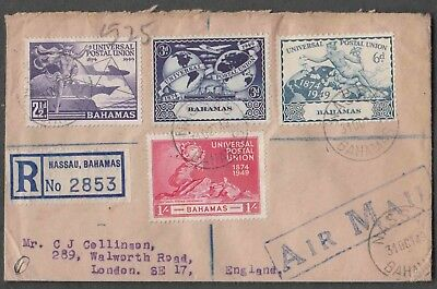 Bahamas 1949 Upu 4 Stamps On Regd Airmail Cover From Nassau To London England Wi