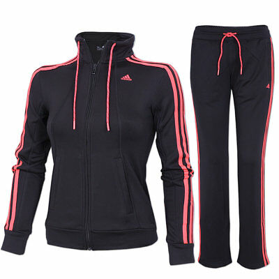 adidas Damen Trainingsanzug Essentials 3-Streifen Sportanzug Jogginganzug