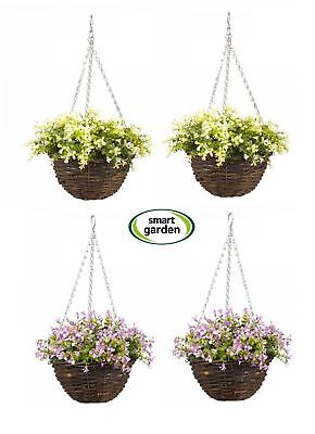 Smart Garden Artificial Set of 2 Lobelia Flower Topiary Foliage Hanging Basket