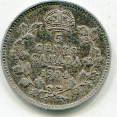 Canada 5 Cents Silver  1904   lotsep2842