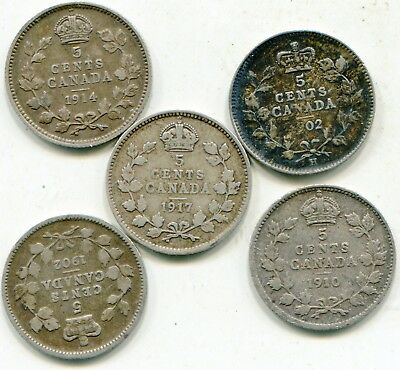 Canada 5 Cents Silver  1902-H; 1902; 1910; 1914; 1917  lotsep2841