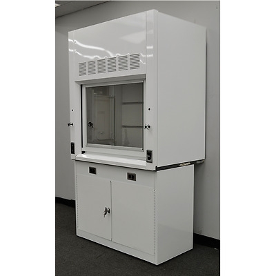 New White Chemical Laboratory 4' Fume Hood w/ Epoxy Top and Base Cabinet new-