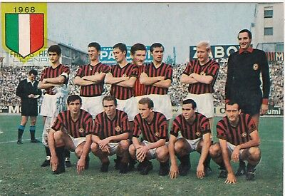Calcio/Football Cartolina sq. MILAN 1967-'68 con RIVERA Ed. Persicostampa orig.