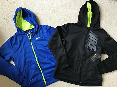 LOT of 2 NIKE boys hoodie sweatshirts size XL 14 16 black NWT blue zip up