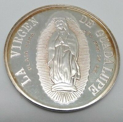 Virgen de Guadalupe 1990 Silver RAINBOW Medal Pope John Paul ll Visit Mexico