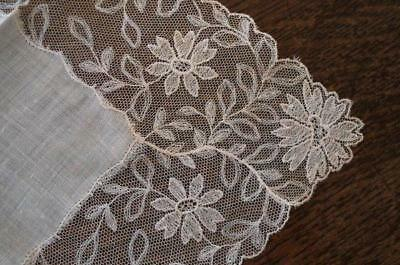 Vintage Needle Run Embroidered Net Lace Bridal Hanky Floral Swags