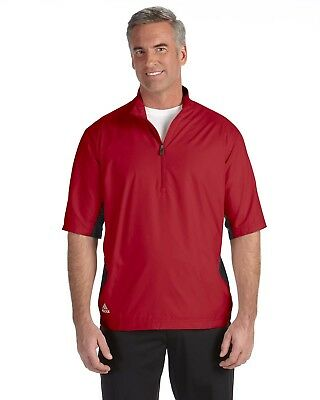 be4b962a758323 NEW Adidas A167 ClimaProof Men s Golf Short Sleeve Wind Jacket Red Black ...